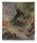 Prehistoric Man: Pottery Fleece Blanket