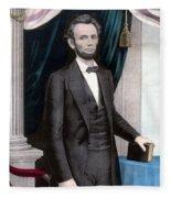 President Abraham Lincoln In Color Fleece Blanket