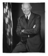 President Eisenhower And The U.s. Flag Fleece Blanket