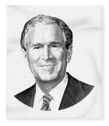 President George W. Bush Graphic - Black And White Fleece Blanket