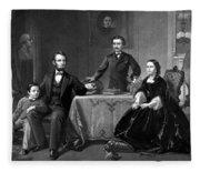 President Lincoln And His Family  Fleece Blanket