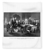President Lincoln His Cabinet And General Scott Fleece Blanket