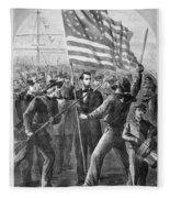 President Lincoln Holding The American Flag Fleece Blanket