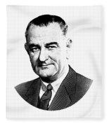 President Lyndon Johnson Graphic - Black And White Fleece Blanket