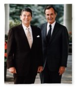 President Reagan And George H.w. Bush - Official Portrait  Fleece Blanket