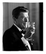 President Reagan Making A Toast Fleece Blanket