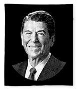 President Ronald Reagan Graphic - Black And White Fleece Blanket