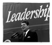 President Ronald Reagan Leadership Photo Fleece Blanket