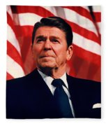 President Ronald Reagan Speaking - 1982 Fleece Blanket