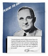 President Truman Speaking For America Fleece Blanket
