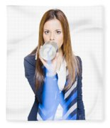 Pretty Business Woman Talking On Tin Can Phone Fleece Blanket