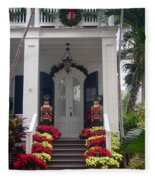 Pretty Christmas Decoration In Key West Fleece Blanket