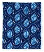 Pretty Decorative Blue Leaves Pattern Fleece Blanket