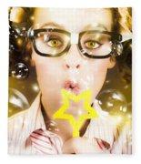 Pretty Geek Girl At Birthday Party Celebration Fleece Blanket