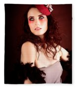 Pretty Glamour Fashion Girl On Red Backlight Fleece Blanket