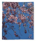 Pretty In Pink - A Flowering Cherry Tree And Blue Spring Sky Fleece Blanket