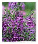 Pretty Pink And Purple Flowers Fleece Blanket