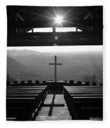 Pretty Place Aka Fred W. Symmes Chapel Black And White Fleece Blanket