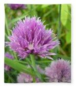 Pretty Purple Chive Flower Fleece Blanket