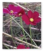 Pretty Red And Yellow Flowers In The Twigs Fleece Blanket