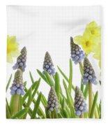 Pretty Spring Flowers All In A Row Fleece Blanket