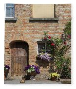 Pretty Terrace Beside The Groenerei Canal In Bruges Belgium Fleece Blanket
