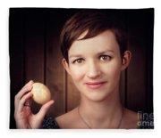 Pretty Young Brunette Woman Holding Hatching Egg Fleece Blanket