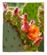 Prickly Pear Blooms Fleece Blanket