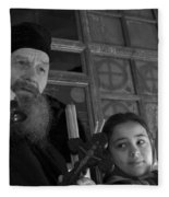 Priest And A Young Girl  Fleece Blanket