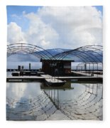Priest Lake Boat Dock Reflection Fleece Blanket