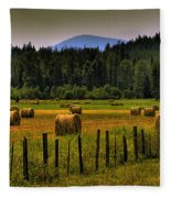 Priest Lake Hay Bales II Fleece Blanket