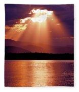 Priest Lake Sunset Heavenly Light Fleece Blanket