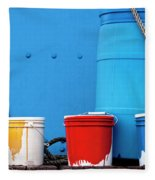 Primary Colors - Paint Buckets On A Ship Fleece Blanket