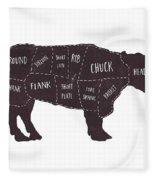 Primitive Butcher Shop Beef Cuts Chart T-shirt Fleece Blanket by Edward Fielding