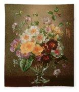 Primulas In A Glass Vase  Fleece Blanket