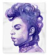 Prince Musician Watercolor Portrait Fleece Blanket