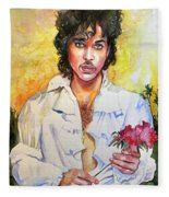 Prince Rogers Nelson Holding A Rose Fleece Blanket