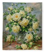 Princess Diana Roses In A Cut Glass Vase Fleece Blanket