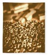 Print Industry Typographic Letters And Numbers Fleece Blanket