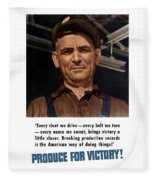 Produce For Victory Fleece Blanket
