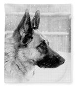 Profile Of A German Shepherd Fleece Blanket