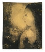 Profile Of A Woman With Flowers Fleece Blanket