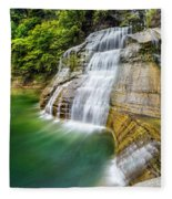 Profile Of The Lower Falls At Enfield Glen Fleece Blanket