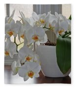 Profusion Of White Orchid Flowers Fleece Blanket