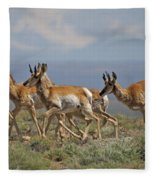 Pronghorn Antelope Running Fleece Blanket