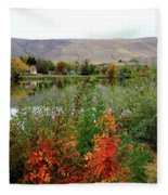 Prosser Autumn River With Hills Fleece Blanket