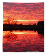 Dramatic Orange Sunset Fleece Blanket