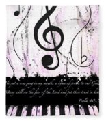 Psalm 40/3 Purple Fleece Blanket