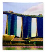 Psychedelic Marina Bay Sands Hotel Singapore Fleece Blanket