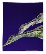 Psychedelic Sculpture Of Three Mallard Ducks Flying Fleece Blanket
